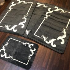 ROMANY WASHABLES GYPSY MATS 4PC SET SOFT LUXURY DESIGN CHARCOAL GREY CARPETS NEW